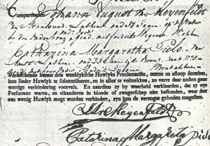 Aangifte ondertrouw Johan August von Meijenfeldt en Catharina Margaretha Pieploo
