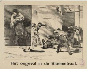 Brand in de Bloemstraat, waar de stamvader woonde rond 1801 (pentekening uit het gemeentearchief Amsterdam)