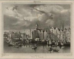 Op 't Water (nu Damrak) bij de Oude Brug te Amsterdam. Een illegale houten huizenrij aan en boven het water waar Johan August von Meijenfeldt (1760-1835) met Frederik Wegener in 1807 wonen.